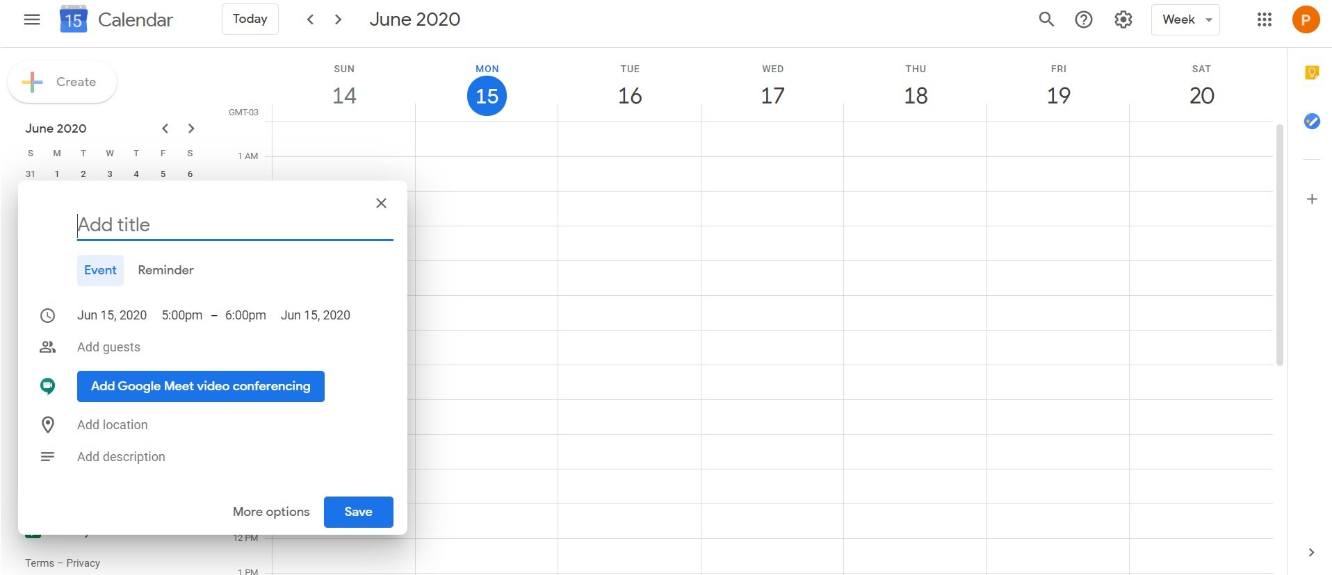 how to create an event with Google Calendar