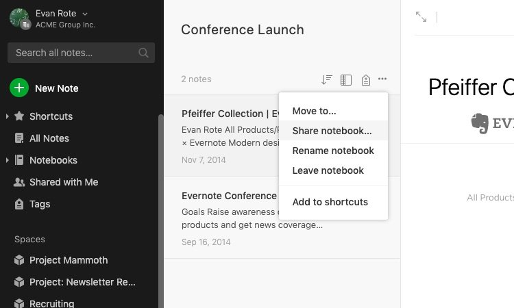 share-notes-Evernote
