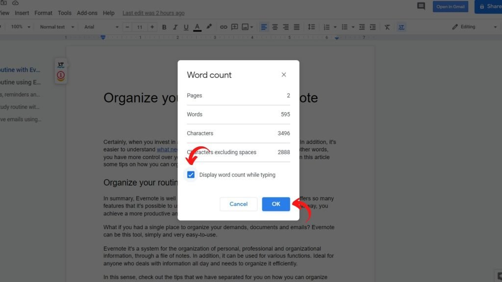 Track your word count 2