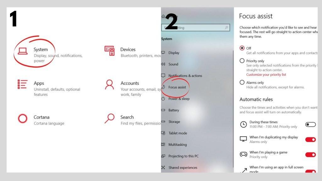 Windows 10 - Focus assist